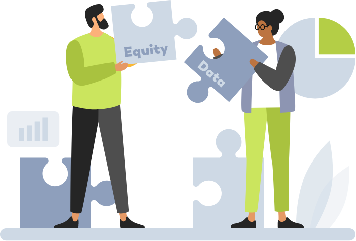 illustrsation of two people putting together puzzle pieces
